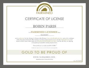 Certificat Fairmined Or Robin Paris